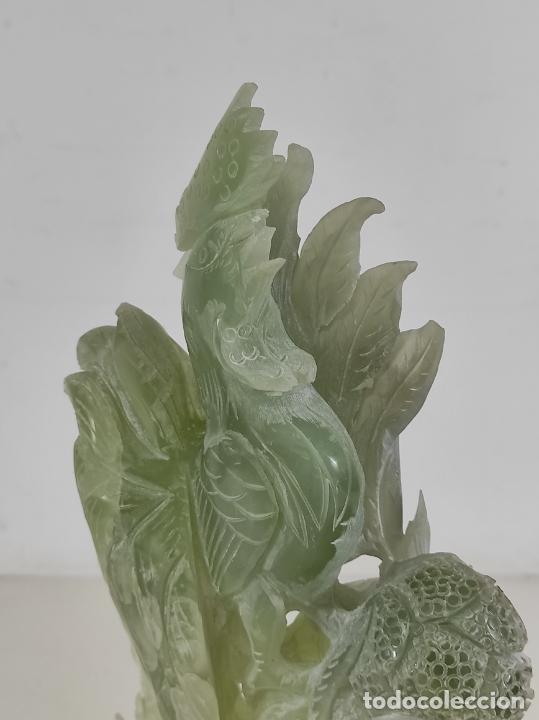 Arte: Bonita Escultura - Talla en Jade - Peana de Madera - Altura - 36 cm - Foto 9 - 261563155
