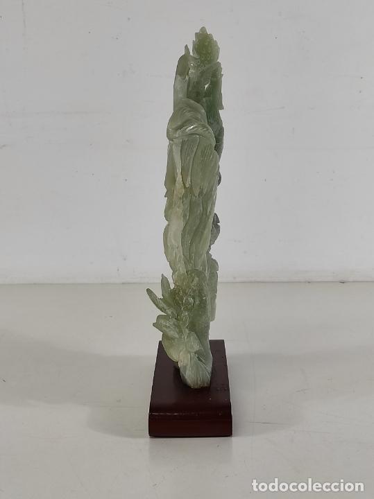 Arte: Bonita Escultura - Talla en Jade - Peana de Madera - Altura - 36 cm - Foto 21 - 261563155