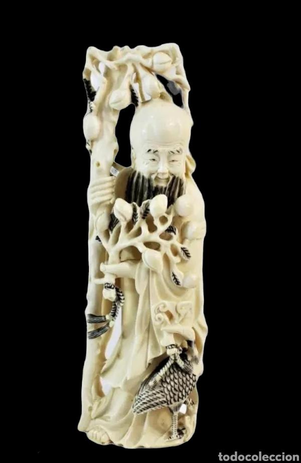 TALLA EN MARFIL CON TINTURA. CHINA CA 1900. IVORY CARVED AND TINTED SCULPTURE. SHOU LAO (Arte - Escultura - Marfil)