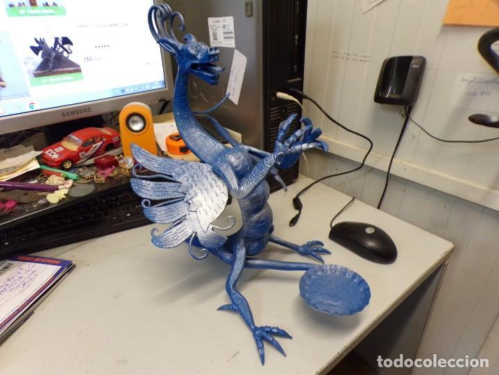 Arte: escultura dragon de buen tamaño de hierro forjado, muy trabajado , 37 cm alto - Foto 2 - 262087915