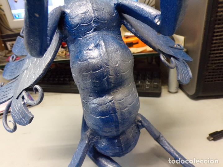 Arte: escultura dragon de buen tamaño de hierro forjado, muy trabajado , 37 cm alto - Foto 7 - 262087915