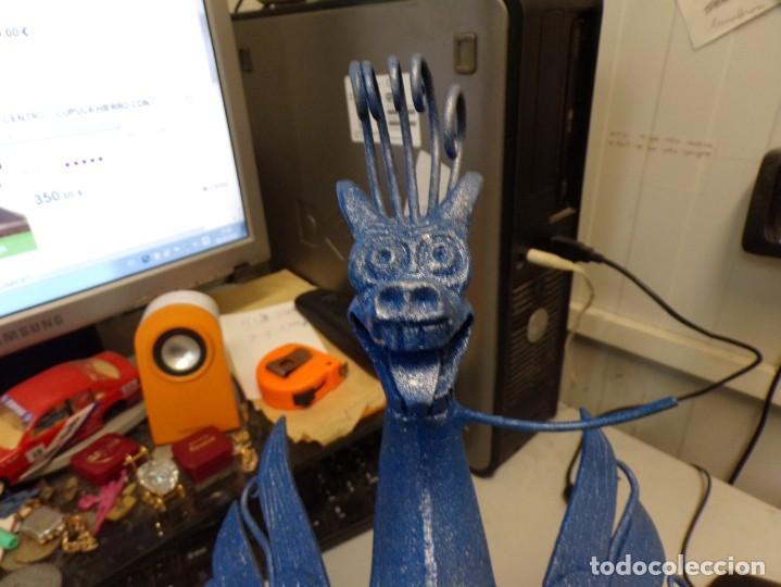 Arte: escultura dragon de buen tamaño de hierro forjado, muy trabajado , 37 cm alto - Foto 9 - 262087915