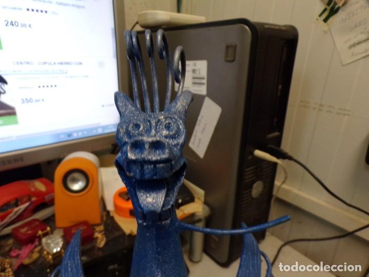 Arte: escultura dragon de buen tamaño de hierro forjado, muy trabajado , 37 cm alto - Foto 19 - 262087915