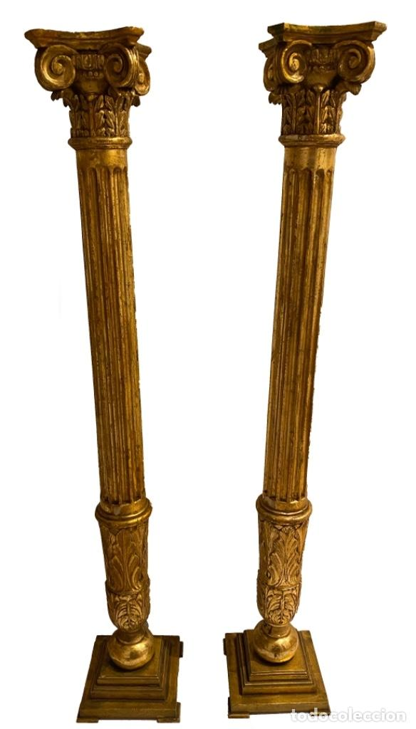 MARAVILLOSAS COLUMNAS BARROCAS SIGLO XVII, 1, 55 X 25 X 25 (Arte - Escultura - Madera)