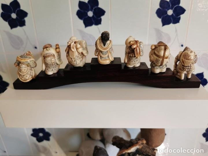 Arte: ANTIGUA COLECCION DE 7 NETSUKE JAPONES EN MARFIL AUTENTICO POLICROMADO, SOBRE PUENTE MADERA CON... - Foto 16 - 262740955