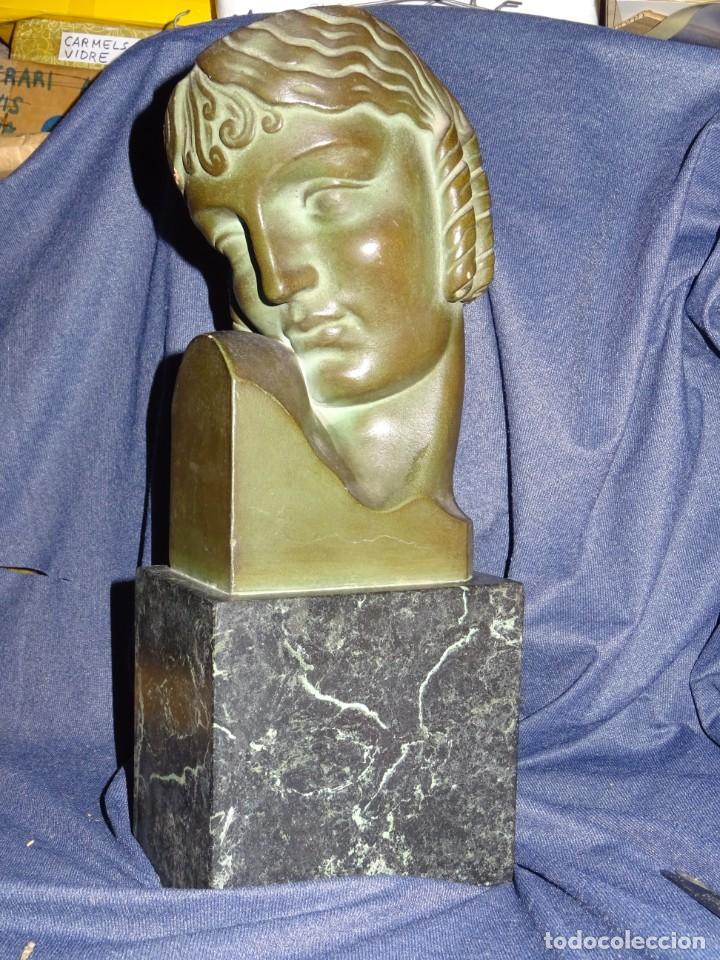 Arte: (M) ESCULTURA MUJER ART DECO - FIRMADA J.L. ORO - PIEDRA ARTIFICIAL BEIN 1940, 35X13X9CM - Foto 2 - 262874580