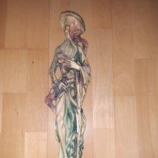 Arte: FIGURA ORIENTAL DE HOMBRE CON AVES REALIZADO EN MARFILINA DE 47CM. VER DESCRIPCIÓN. Lote 262884745