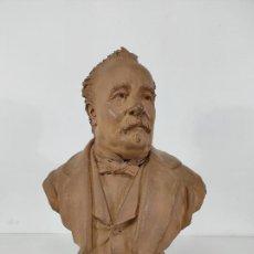 Arte: MIGUEL BLAY Y FÁBREGA (OLOT 1866 - MADRID 1936) - ESCULTURA, BUSTO NARCÍS FAGES DE ROMÀ - FIRMA 1887. Lote 263012625