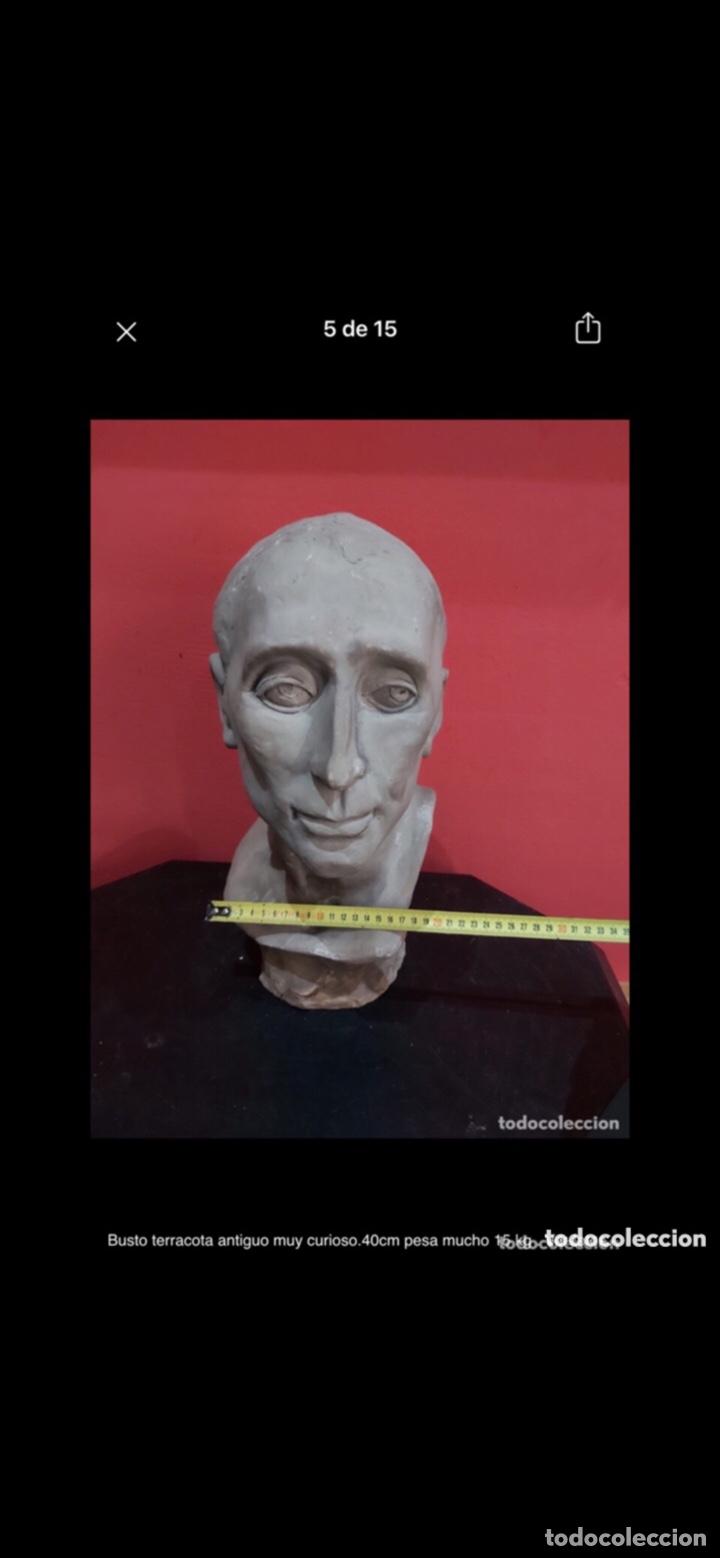 Arte: Busto terracota antiguo muy curioso.40cm pesa mucho 15 kg . Ver fotos - Foto 5 - 263645405