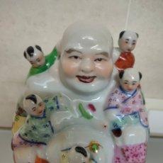 Arte: ANTIGUA FIGURA PORCELANA BUDA FERTILIDAD CHINA 15X14CM MADE IN HONG KONG. Lote 263920980