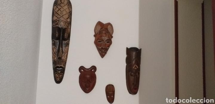 COLECCION DE 5 MASCARAS (Arte - Escultura - Madera)