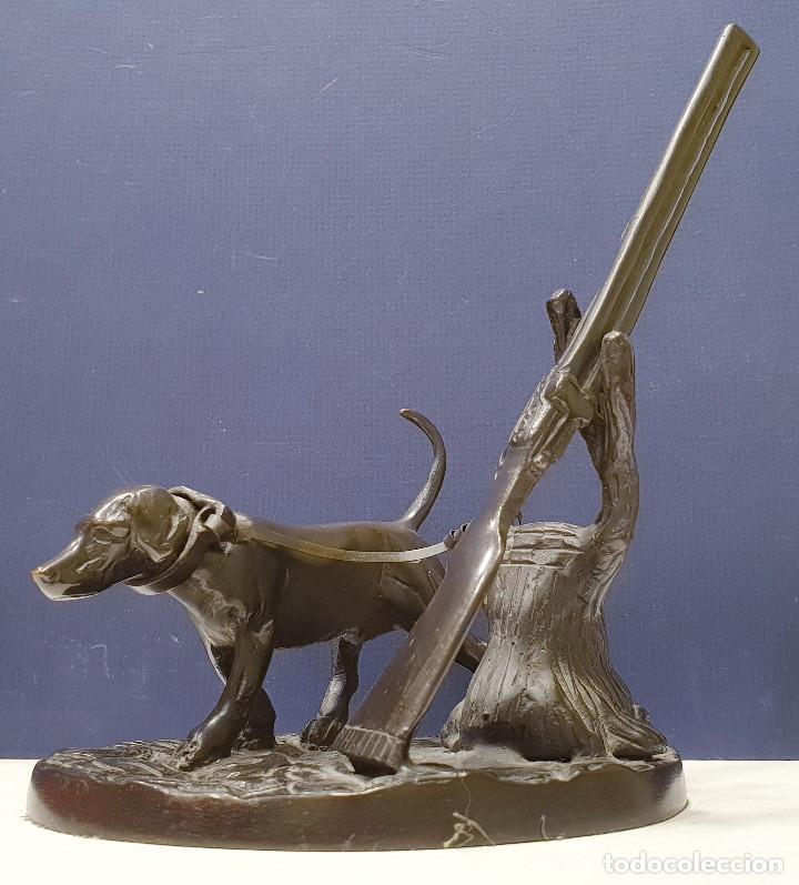 Arte: Perro cazador de bronce con escopeta de caza. - Foto 3 - 264573894