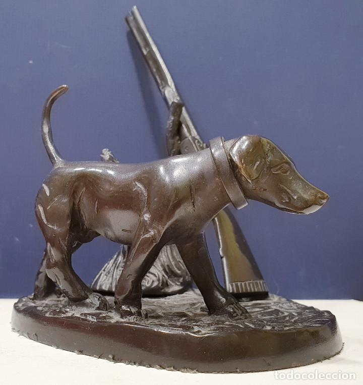 Arte: Perro cazador de bronce con escopeta de caza. - Foto 6 - 264573894