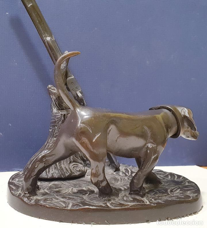 Arte: Perro cazador de bronce con escopeta de caza. - Foto 7 - 264573894