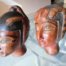 Arte: DOS CABEZAS EGIPCIAS TALLADAS EN PIEDRA 15 X 8 CM. - PESO 1,150 KG. Y 1,100 KG. (18 FOTOS). Lote 264736099