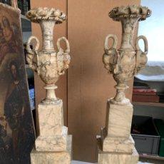 Art: PAREJA DE COLUMNAS Y JARRONES TALLADOS EN ALABASTRO - SIGLO XIX - 140CM -. Lote 265386889
