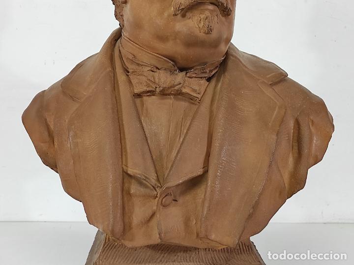Arte: Miguel Blay y Fábrega (Olot 1866 - Madrid 1936) - Escultura, Busto Narcís Fages de Romà - Firma 1887 - Foto 3 - 265405939