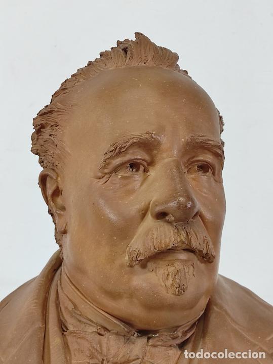 Arte: Miguel Blay y Fábrega (Olot 1866 - Madrid 1936) - Escultura, Busto Narcís Fages de Romà - Firma 1887 - Foto 4 - 265405939
