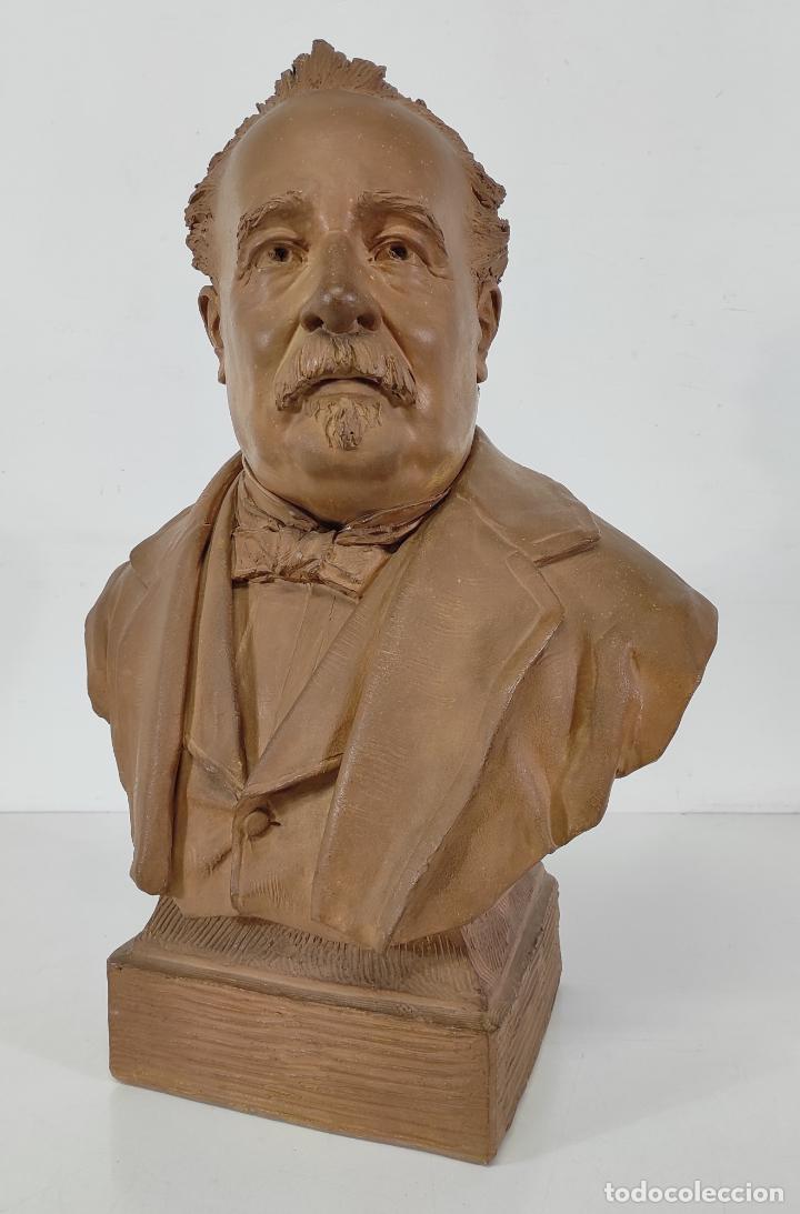 Arte: Miguel Blay y Fábrega (Olot 1866 - Madrid 1936) - Escultura, Busto Narcís Fages de Romà - Firma 1887 - Foto 7 - 265405939
