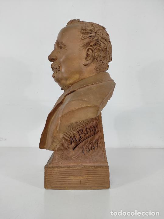 Arte: Miguel Blay y Fábrega (Olot 1866 - Madrid 1936) - Escultura, Busto Narcís Fages de Romà - Firma 1887 - Foto 8 - 265405939