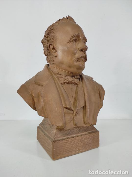 Arte: Miguel Blay y Fábrega (Olot 1866 - Madrid 1936) - Escultura, Busto Narcís Fages de Romà - Firma 1887 - Foto 22 - 265405939