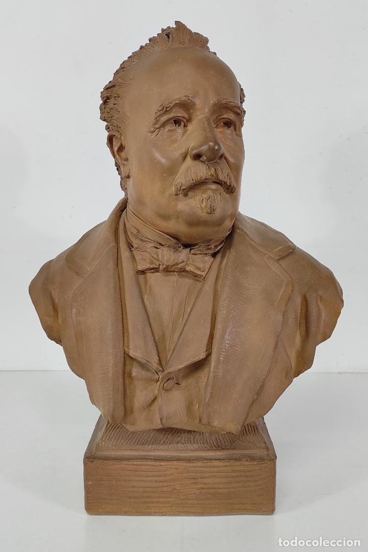 Arte: Miguel Blay y Fábrega (Olot 1866 - Madrid 1936) - Escultura, Busto Narcís Fages de Romà - Firma 1887 - Foto 24 - 265405939