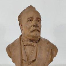 Arte: MIGUEL BLAY Y FÁBREGA (OLOT 1866 - MADRID 1936) - ESCULTURA, BUSTO NARCÍS FAGES DE ROMÀ - FIRMA 1887. Lote 265405939