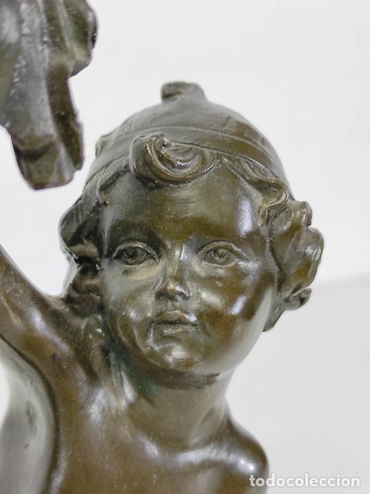 Arte: Charles Petre (1828-1907) - Escultura en Bronce - Niños Músicos Bailando - Peana en Mármol Negro - Foto 5 - 265485649