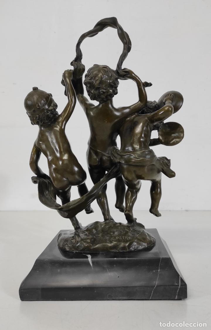 Arte: Charles Petre (1828-1907) - Escultura en Bronce - Niños Músicos Bailando - Peana en Mármol Negro - Foto 13 - 265485649