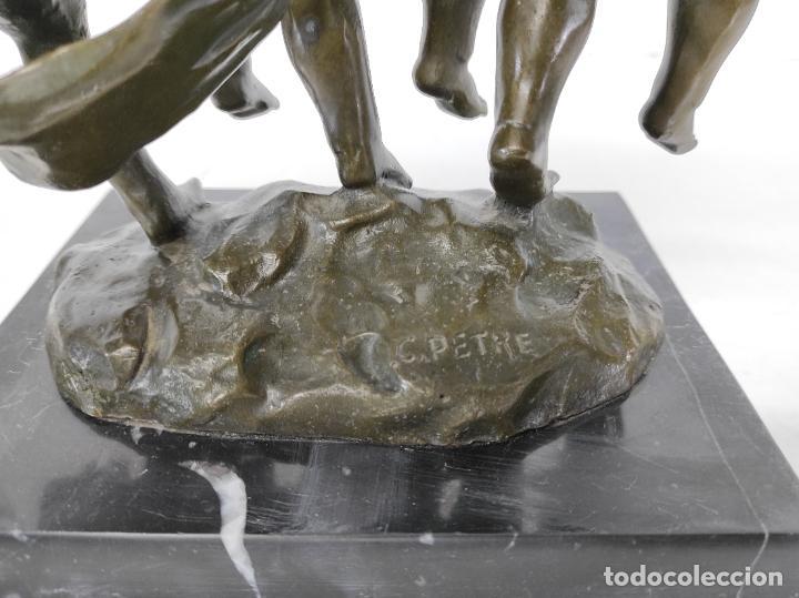 Arte: Charles Petre (1828-1907) - Escultura en Bronce - Niños Músicos Bailando - Peana en Mármol Negro - Foto 14 - 265485649
