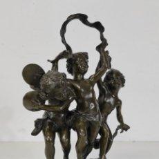 Arte: CHARLES PETRE (1828-1907) - ESCULTURA EN BRONCE - NIÑOS MÚSICOS BAILANDO - PEANA EN MÁRMOL NEGRO. Lote 265485649