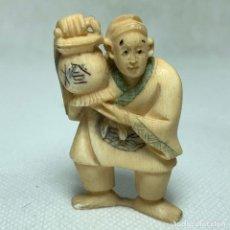 Arte: NETSUKE - BOTÓN JAPONES - MARFIL - FIRMADO - 5CM. Lote 265688284