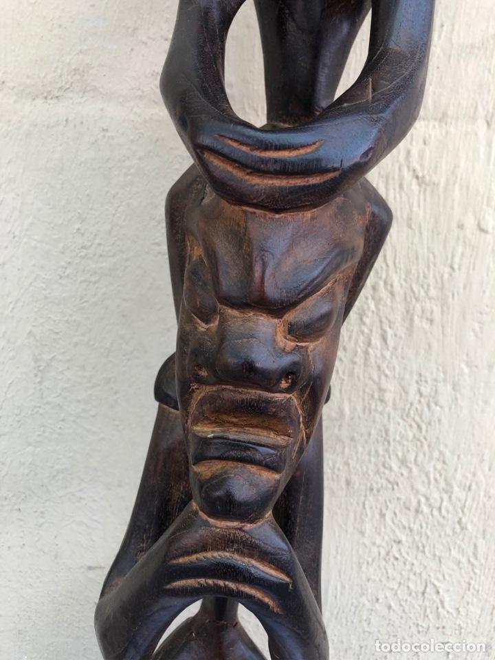 Arte: Curiosa escultura africana madera tallada grandes dimensiones más de 1 metro. Ver fotos - Foto 5 - 266004508
