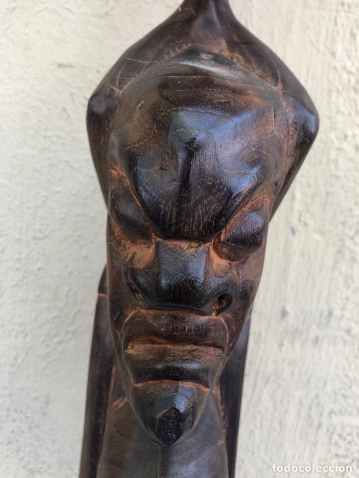 Arte: Curiosa escultura africana madera tallada grandes dimensiones más de 1 metro. Ver fotos - Foto 6 - 266004508
