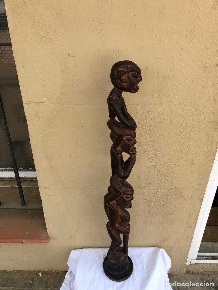 Arte: Curiosa escultura africana madera tallada grandes dimensiones más de 1 metro. Ver fotos - Foto 9 - 266004508