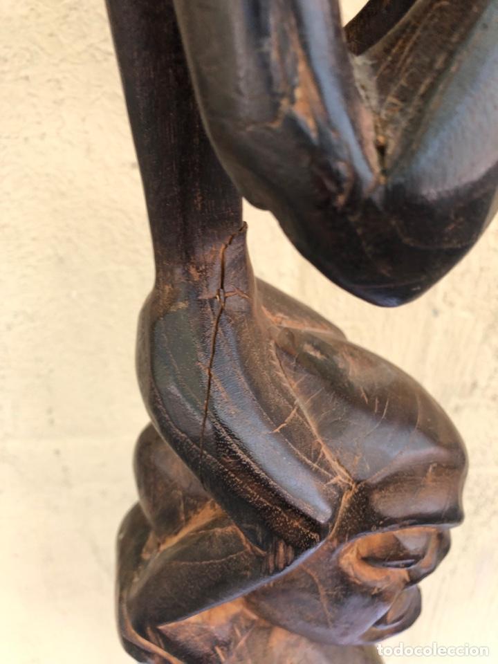Arte: Curiosa escultura africana madera tallada grandes dimensiones más de 1 metro. Ver fotos - Foto 10 - 266004508