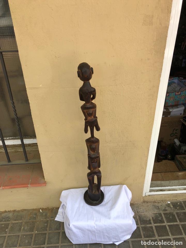Arte: Curiosa escultura africana madera tallada grandes dimensiones más de 1 metro. Ver fotos - Foto 11 - 266004508