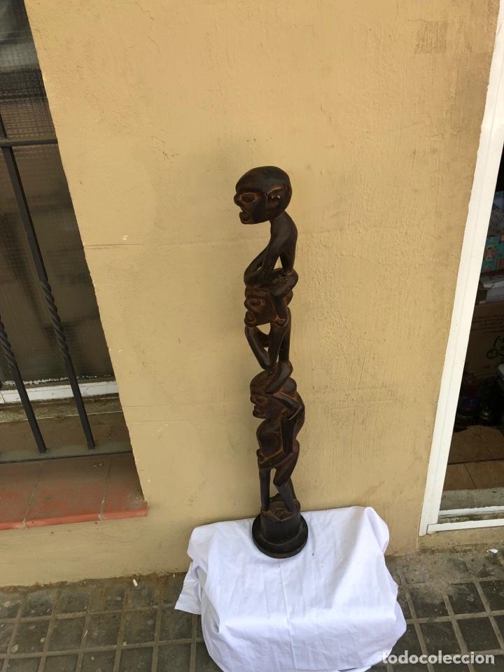 Arte: Curiosa escultura africana madera tallada grandes dimensiones más de 1 metro. Ver fotos - Foto 12 - 266004508