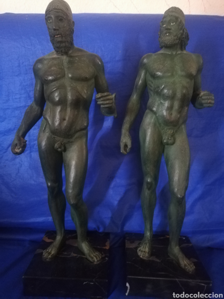 ESCULTURA DE BRONCE GUERREROS DE RIACE.. NUMERADAS... COMPRADO ALEMANIA MUSEO AÑOS 80.. CERTIFICADO (Arte - Escultura - Bronce)