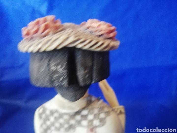 Arte: Antigua escultura de hueso con policromia y bellos detalles.. 23 cm..Tengo otra en mi página. - Foto 5 - 272231668