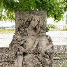Art: VIRGEN SENTADA EN TRONO, CON NIÑO. EN PIEDRA. Lote 274550378