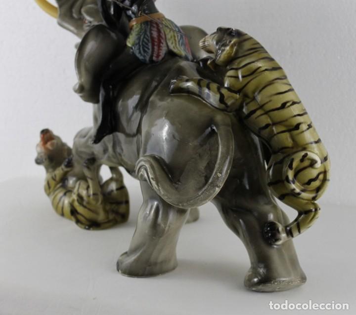 Arte: Figura de gran tamaño en terracota policromada. Blackamoor Lucha entre elefante y tigres - Foto 19 - 275209073