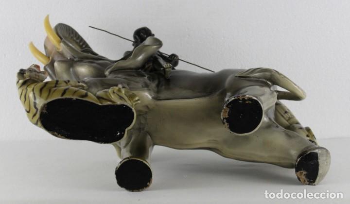 Arte: Figura de gran tamaño en terracota policromada. Blackamoor Lucha entre elefante y tigres - Foto 20 - 275209073