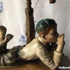 Arte: ART NOVEAU, FIGURA EN TERRACOTA POLICROMADA. Lote 276217173