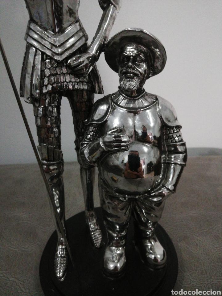 Arte: Figura DON QUIJOTE Y SANCHO niquelado. - Foto 3 - 276402088
