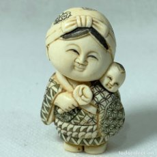 Art: NETSUKE - BOTÓN JAPONES KIMONO - MARFIL - FIRMADO - 5 CM. Lote 276628543