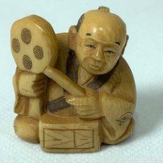 Art: NETSUKE - BOTÓN JAPONES KIMONO - MARFIL - FIRMADO - 5 CM. Lote 276630363