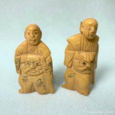 Art: NETSUKE - LOTE DE 2 NETSUKE - BOTÓN JAPONES KIMONO - FIRMADOS - 5 CM. Lote 276636403