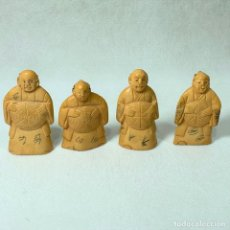 Arte: NETSUKE - LOTE DE 4 NETSUKE - BOTÓN JAPONES KIMONO - FIRMADOS - 5 CM. Lote 276637038
