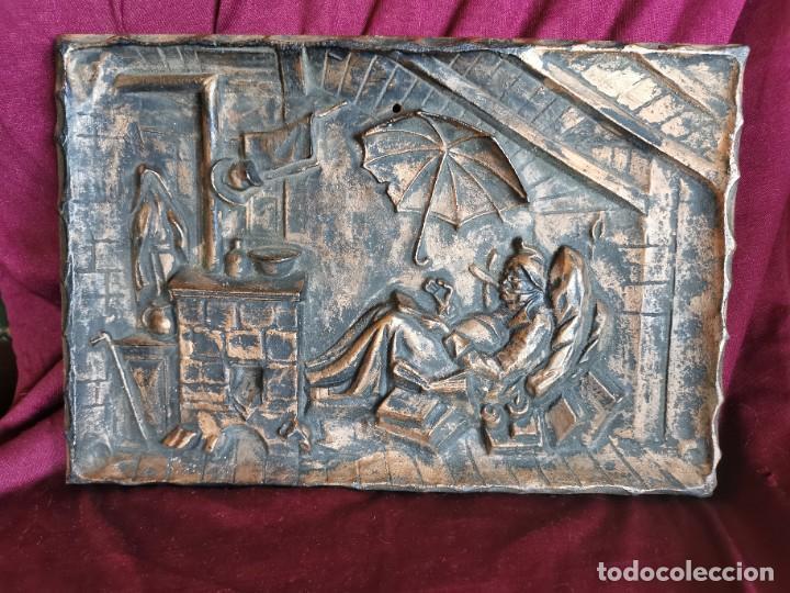 """PRECIOSA PLACA - RELIEVE METÁLICA. 5 KILOS. OBRA """"EL POETA POBRE"""" DEL ALEMÁN CARL SPITZWEG (Arte - Escultura - Hierro)"""